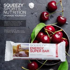 SQUEEZY ENERGY SUPER BAR 50g – energiaszelet koffeinnel Meggy ízben
